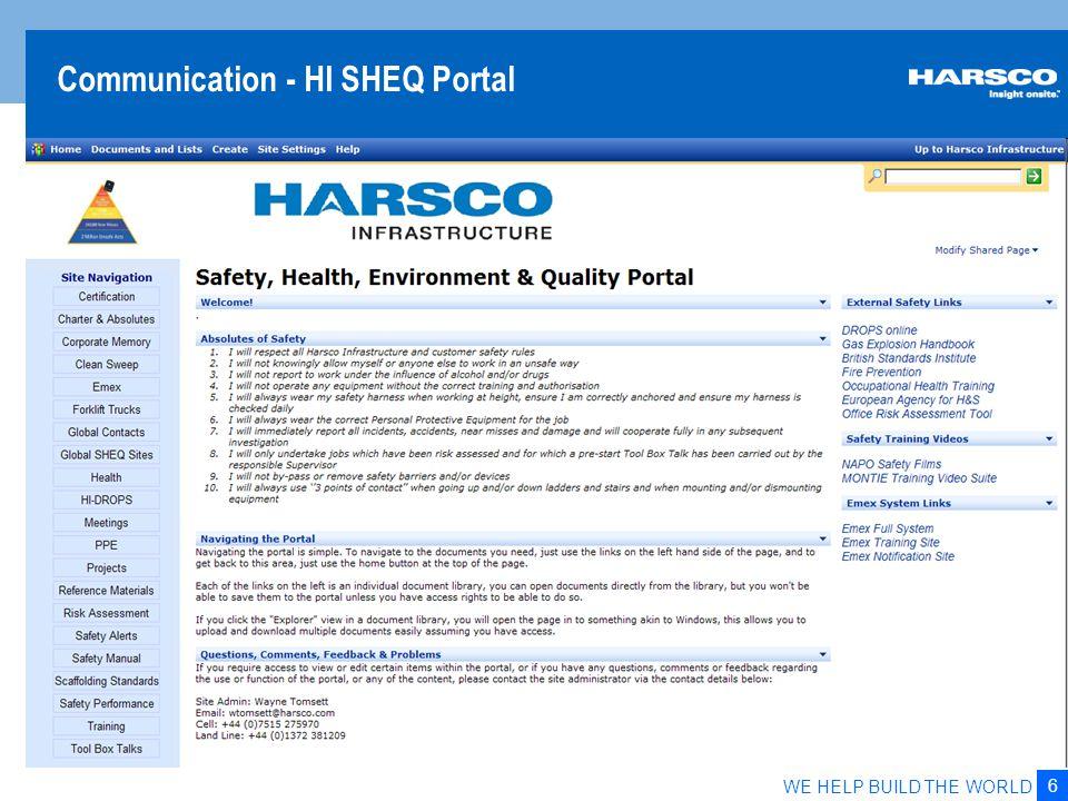 6 WE HELP BUILD THE WORLD Communication - HI SHEQ Portal