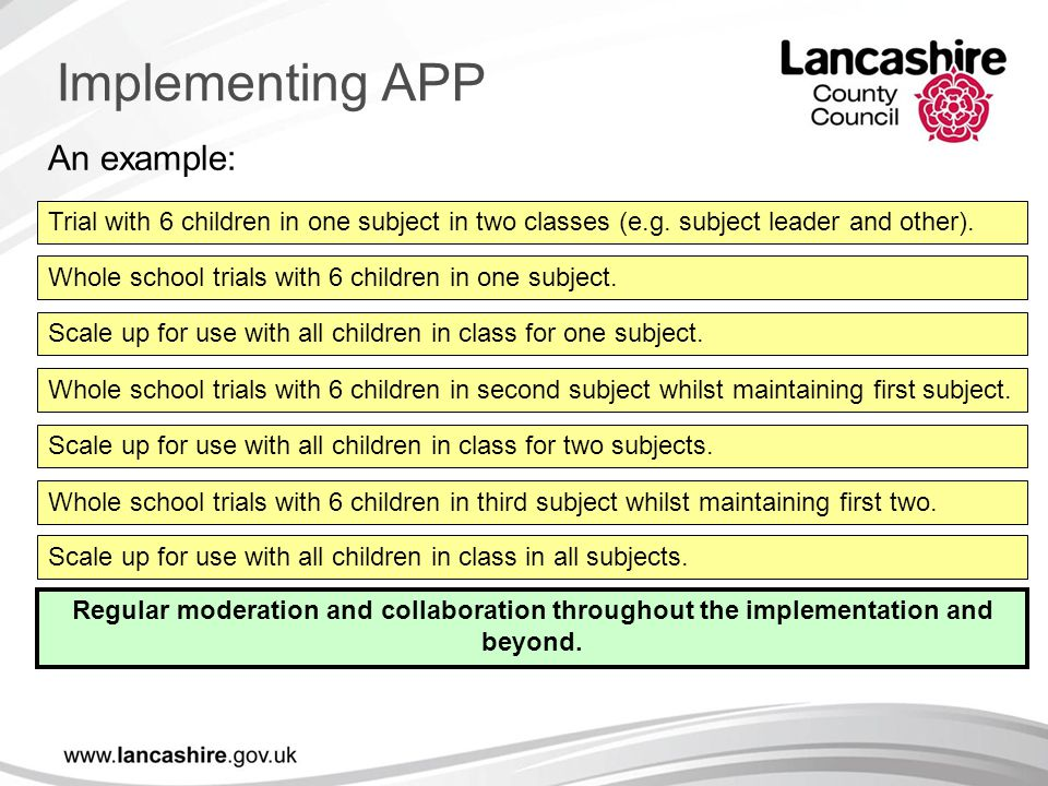 An example: Trial with 6 children in one subject in two classes (e.g. subject leader and other). Whole school trials with 6 children in one subject. S