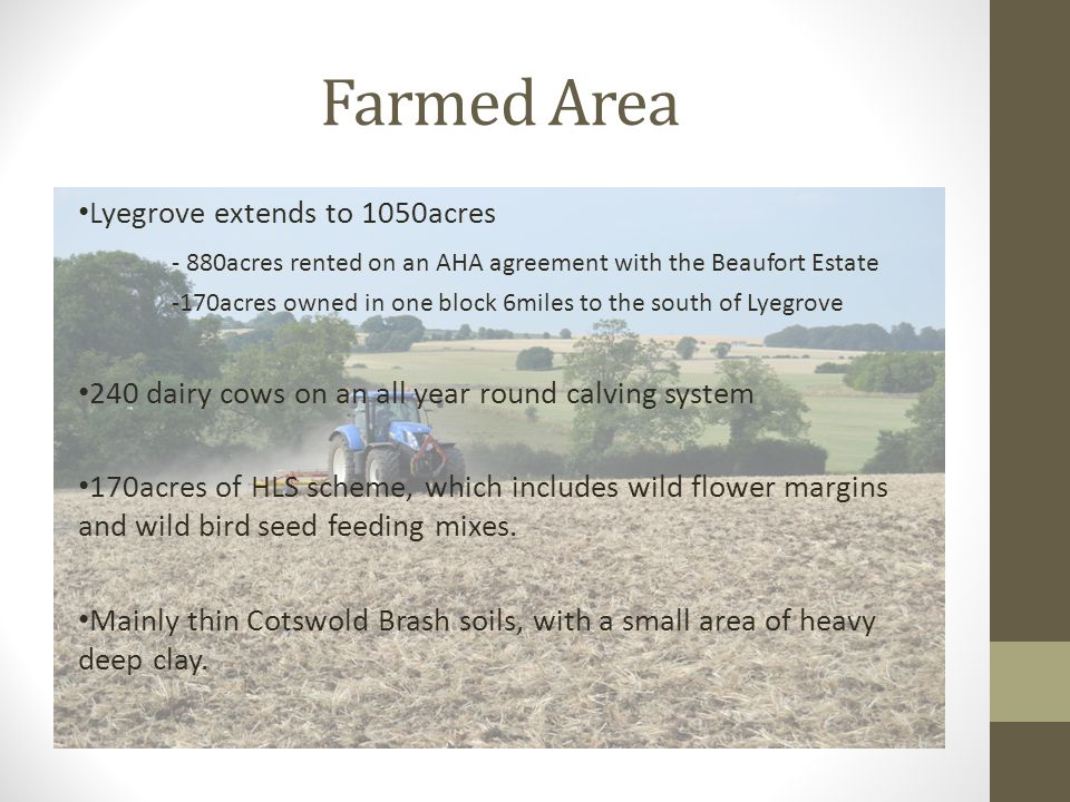 Farmed Area Lyegrove extends to 1050acres - 880acres rented on an AHA agreement with the Beaufort Estate -170acres owned in one block 6miles to the so