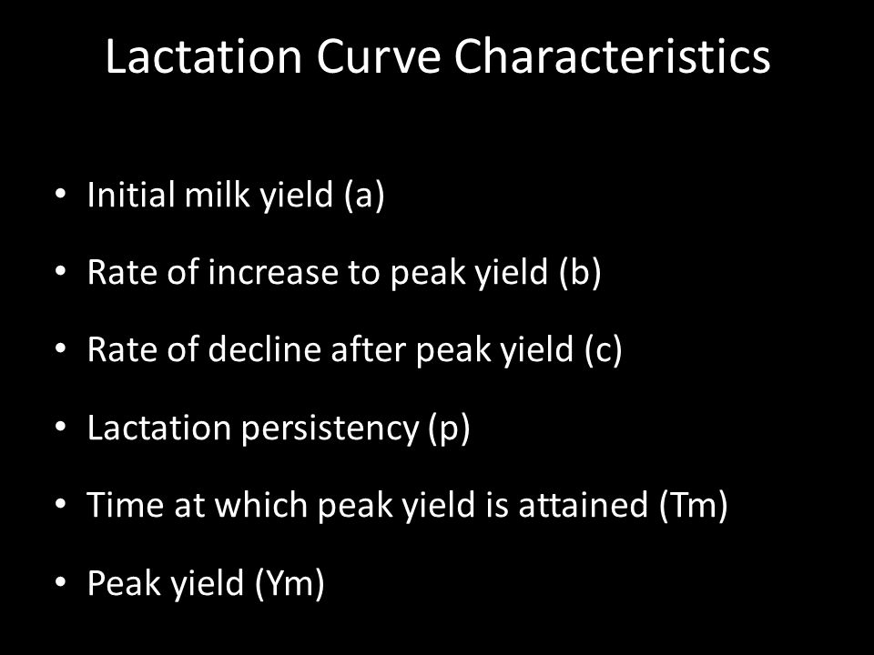 Lactation Curve Characteristics Initial milk yield (a) Rate of increase to peak yield (b) Rate of decline after peak yield (c) Lactation persistency (p) Time at which peak yield is attained (Tm) Peak yield (Ym)