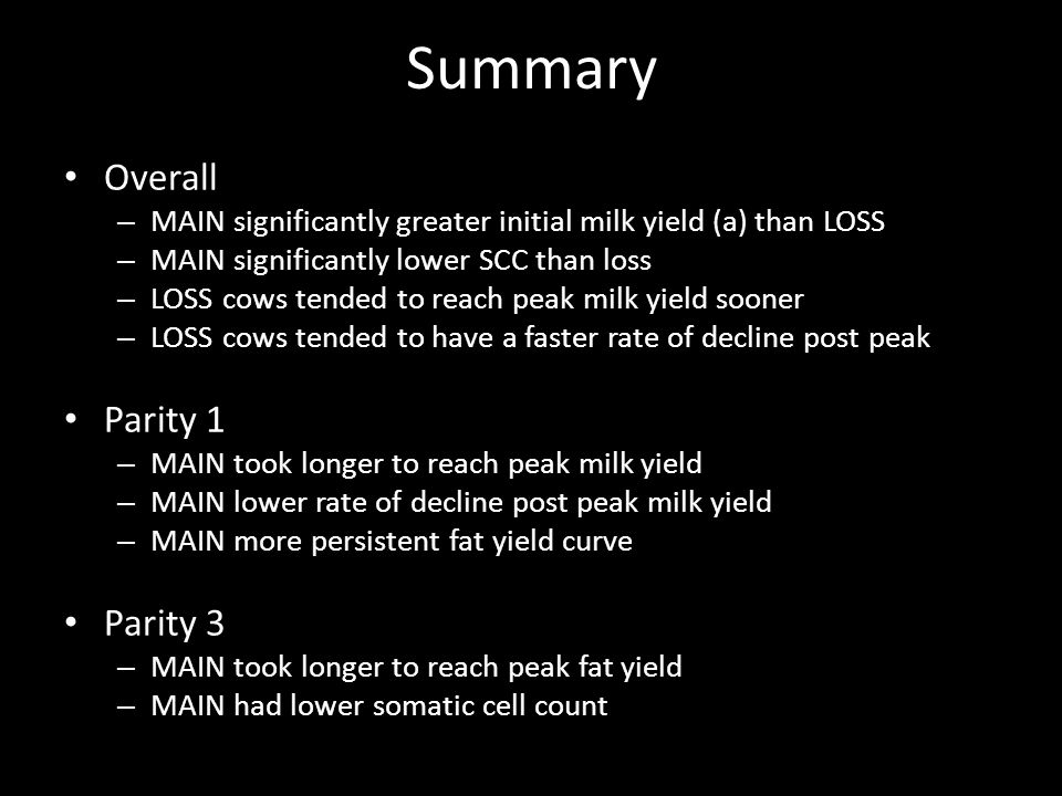Summary Overall – MAIN significantly greater initial milk yield (a) than LOSS – MAIN significantly lower SCC than loss – LOSS cows tended to reach peak milk yield sooner – LOSS cows tended to have a faster rate of decline post peak Parity 1 – MAIN took longer to reach peak milk yield – MAIN lower rate of decline post peak milk yield – MAIN more persistent fat yield curve Parity 3 – MAIN took longer to reach peak fat yield – MAIN had lower somatic cell count