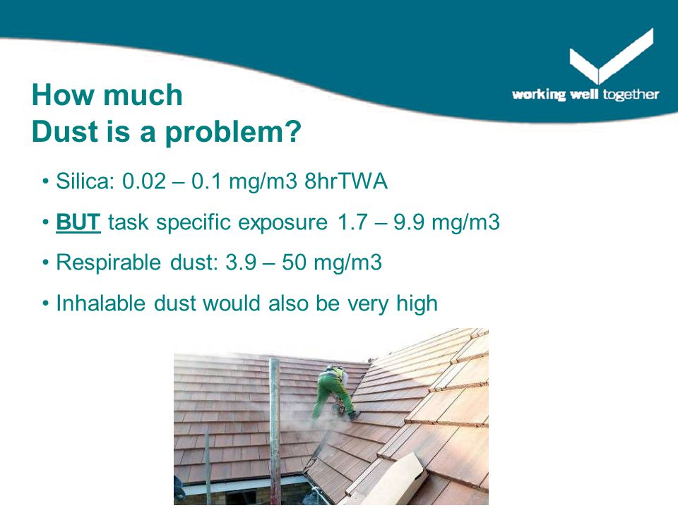 Silica: 0.02 – 0.1 mg/m3 8hrTWA BUT task specific exposure 1.7 – 9.9 mg/m3 Respirable dust: 3.9 – 50 mg/m3 Inhalable dust would also be very high How much Dust is a problem?