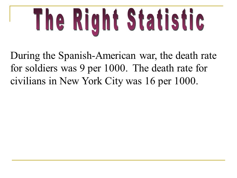 During the Spanish-American war, the death rate for soldiers was 9 per 1000.
