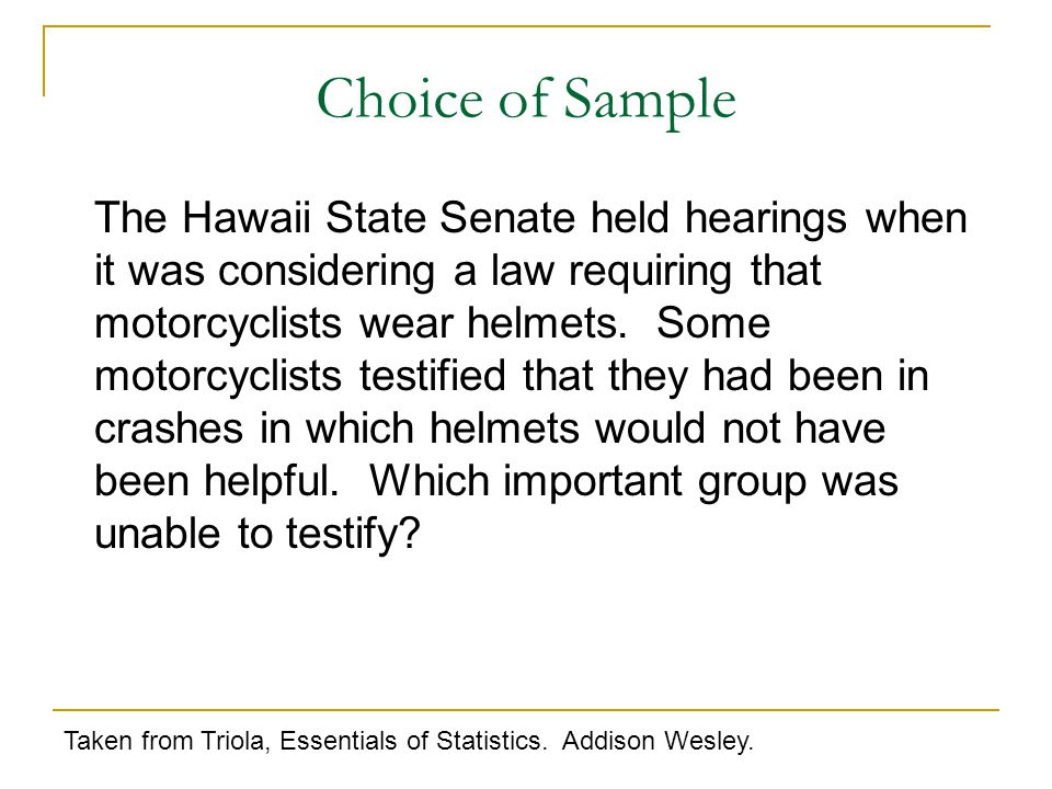 The Hawaii State Senate held hearings when it was considering a law requiring that motorcyclists wear helmets.