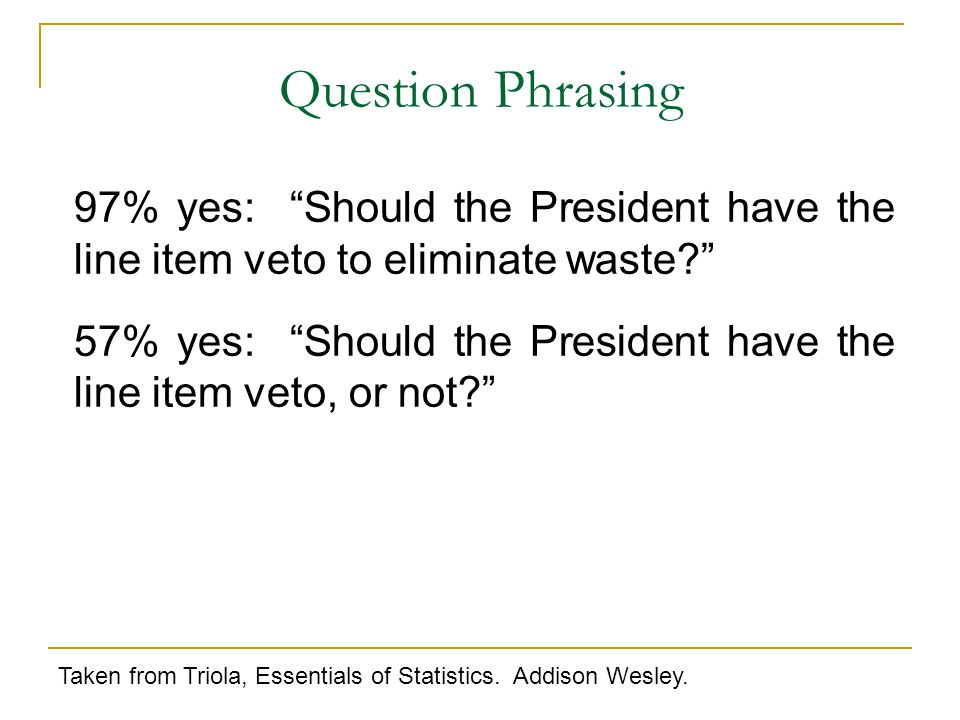 97% yes: Should the President have the line item veto to eliminate waste? 57% yes: Should the President have the line item veto, or not? Taken from Triola, Essentials of Statistics.