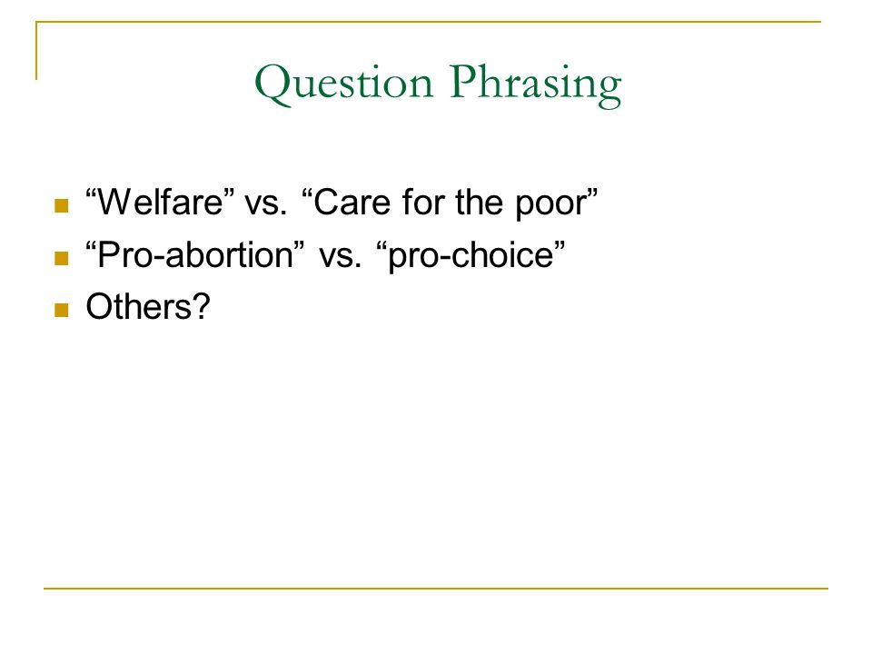 Welfare vs. Care for the poor Pro-abortion vs. pro-choice Others Question Phrasing