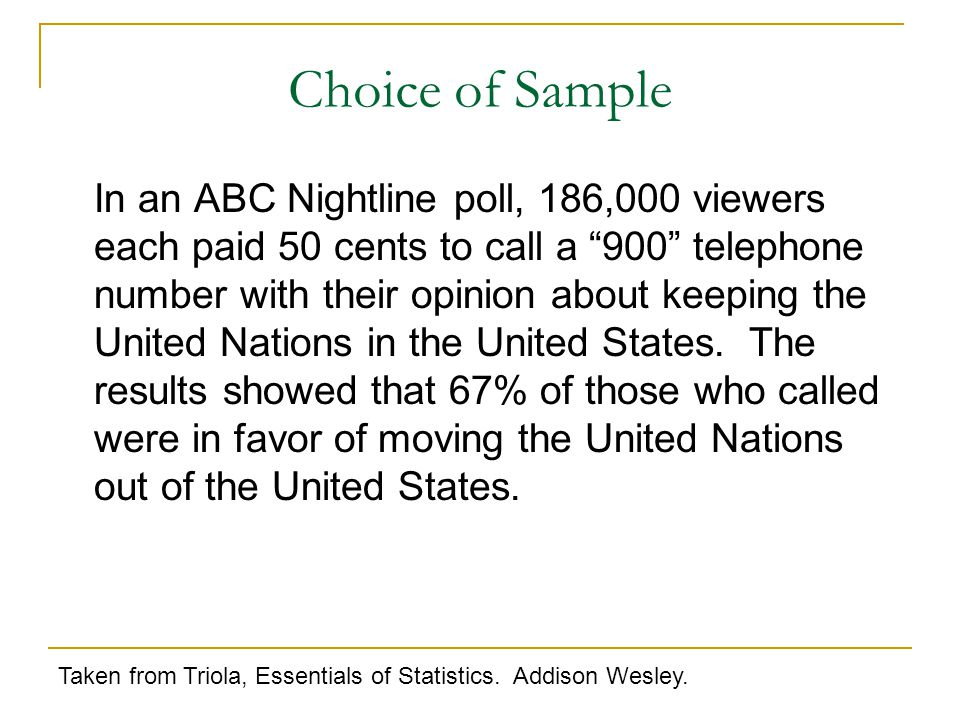 In an ABC Nightline poll, 186,000 viewers each paid 50 cents to call a 900 telephone number with their opinion about keeping the United Nations in the United States.