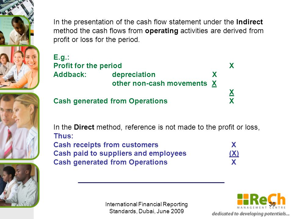 International Financial Reporting Standards, Dubai, June 2009 36 In the presentation of the cash flow statement under the Indirect method the cash flows from operating activities are derived from profit or loss for the period.