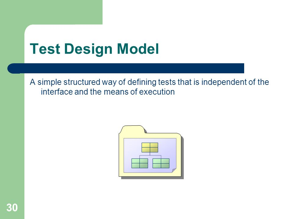 30 Test Design Model A simple structured way of defining tests that is independent of the interface and the means of execution