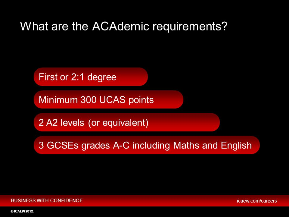 BUSINESS WITH CONFIDENCE icaew.com/careers © ICAEW 2012 First or 2:1 degree 2 A2 levels (or equivalent) 3 GCSEs grades A-C including Maths and English