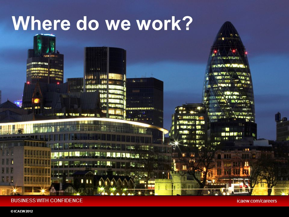 BUSINESS WITH CONFIDENCE icaew.com/careers © ICAEW 2012 Not for profit Practice Industry Where do we work?