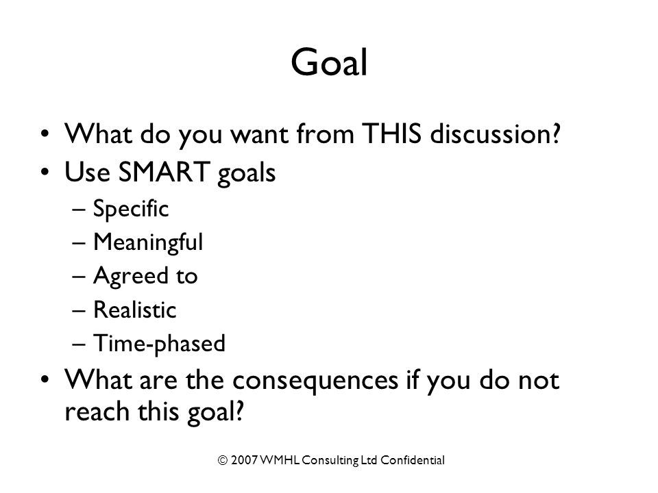 © 2007 WMHL Consulting Ltd Confidential Goal What do you want from THIS discussion.