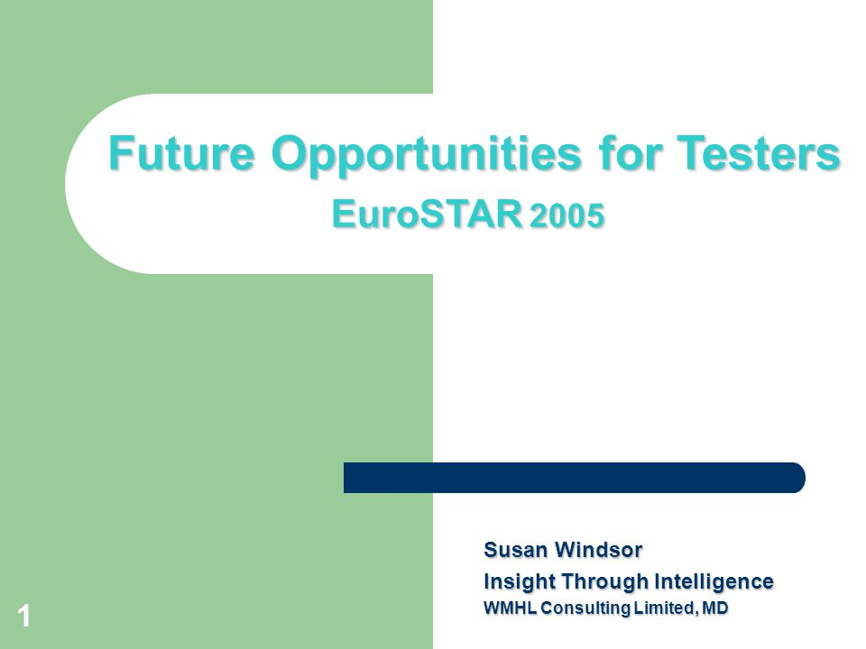 1 Title slide Future Opportunities for Testers EuroSTAR 2005 Susan Windsor Insight Through Intelligence WMHL Consulting Limited, MD