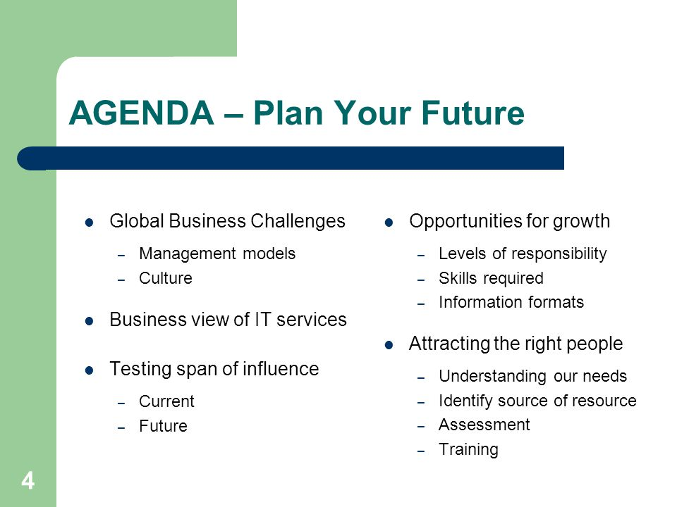 4 AGENDA – Plan Your Future Global Business Challenges – Management models – Culture Business view of IT services Testing span of influence – Current – Future Opportunities for growth – Levels of responsibility – Skills required – Information formats Attracting the right people – Understanding our needs – Identify source of resource – Assessment – Training