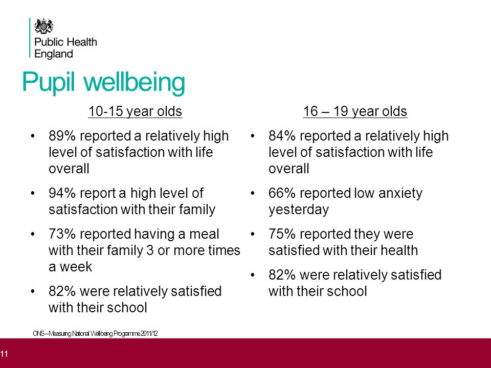 Pupil wellbeing 10-15 year olds 89% reported a relatively high level of satisfaction with life overall 94% report a high level of satisfaction with th