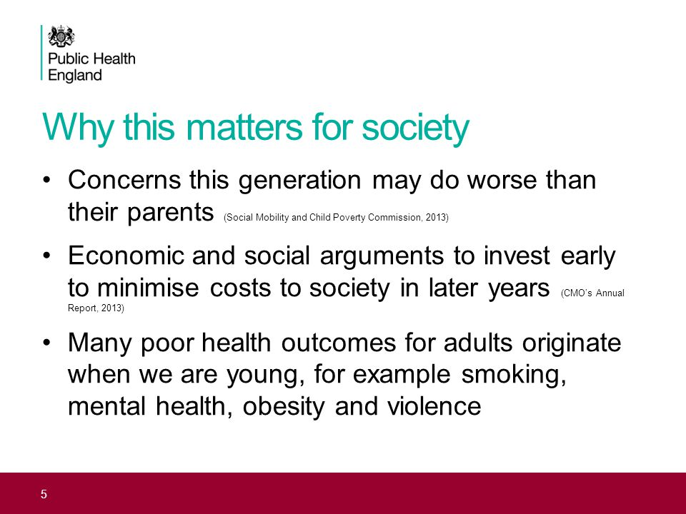 5 Concerns this generation may do worse than their parents (Social Mobility and Child Poverty Commission, 2013) Economic and social arguments to inves