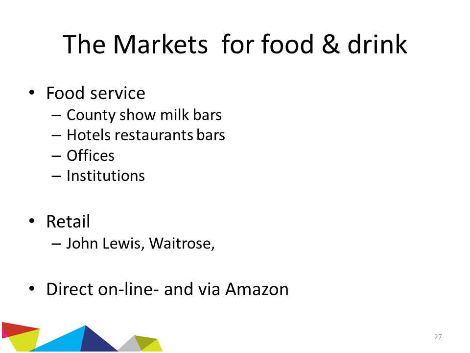The Markets for food & drink Food service – County show milk bars – Hotels restaurants bars – Offices – Institutions Retail – John Lewis, Waitrose, Di