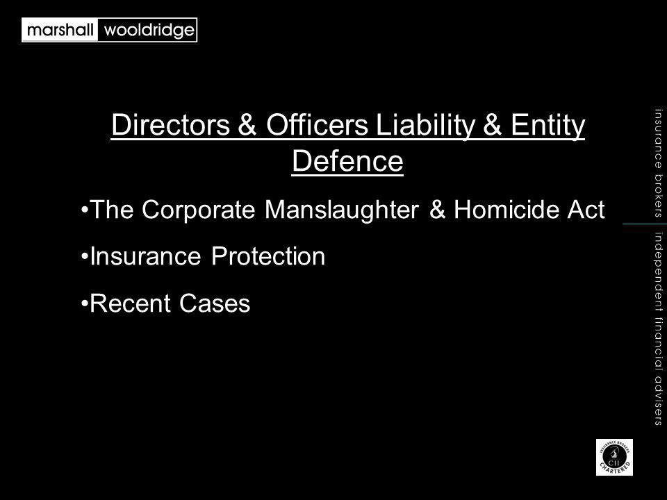 Directors & Officers Liability & Entity Defence The Corporate Manslaughter & Homicide Act Insurance Protection Recent Cases
