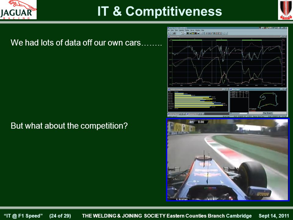 IT @ F1 Speed (23 of 29) THE WELDING & JOINING SOCIETY Eastern Counties Branch Cambridge Sept 14, 2011 Virtual Private Network Trackside to Factory Communications ISDN Network 7 Post RigLifing/Race/Test Data Access to factory for Management, PR and Marketing