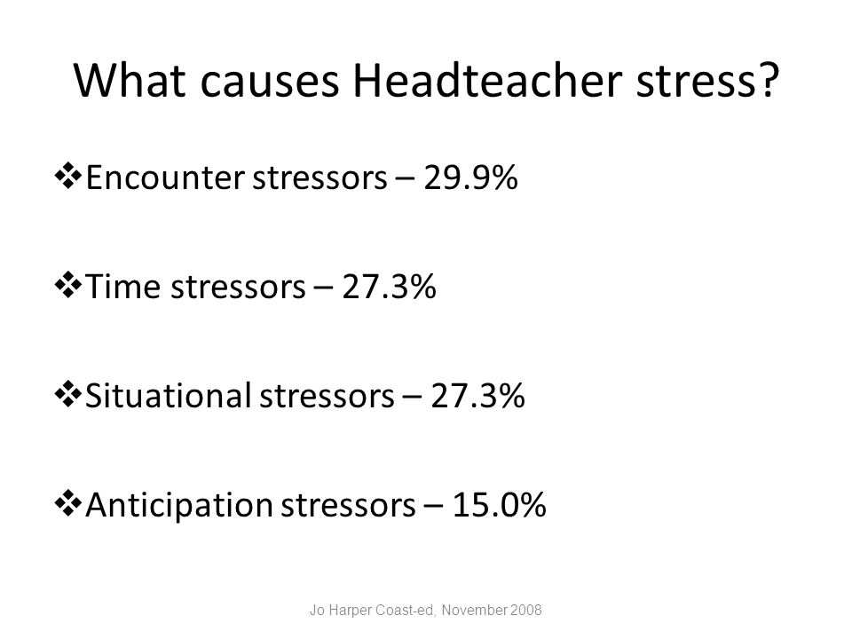 What causes Headteacher stress.