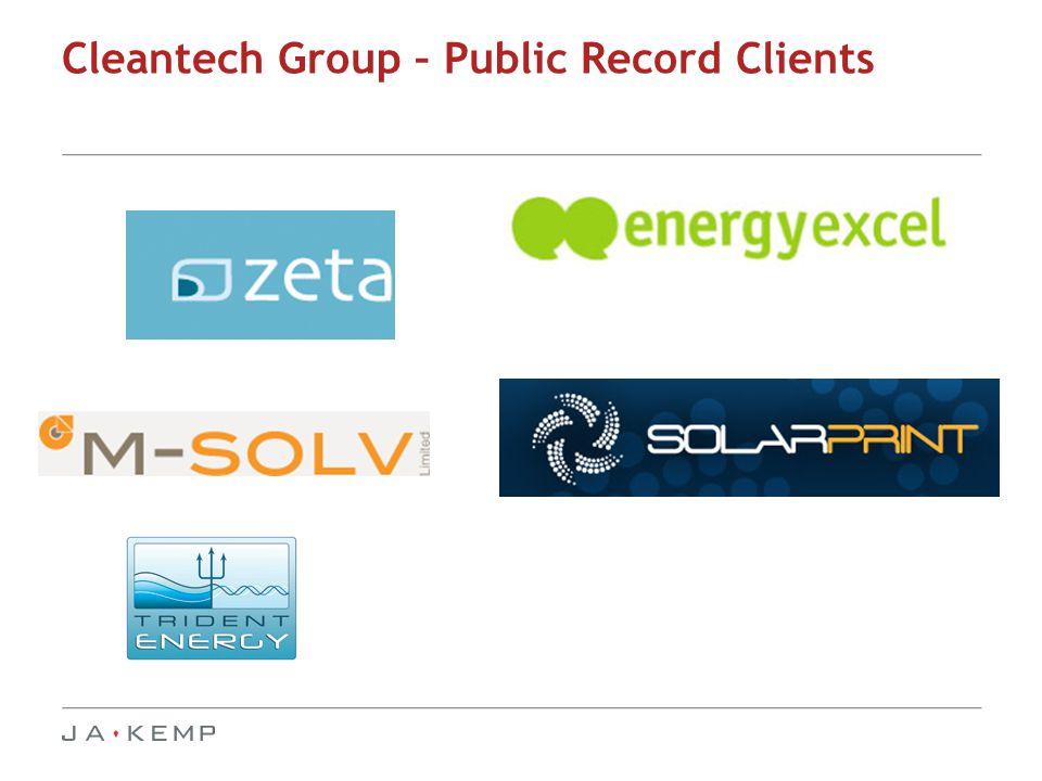 Cleantech Group – Public Record Clients