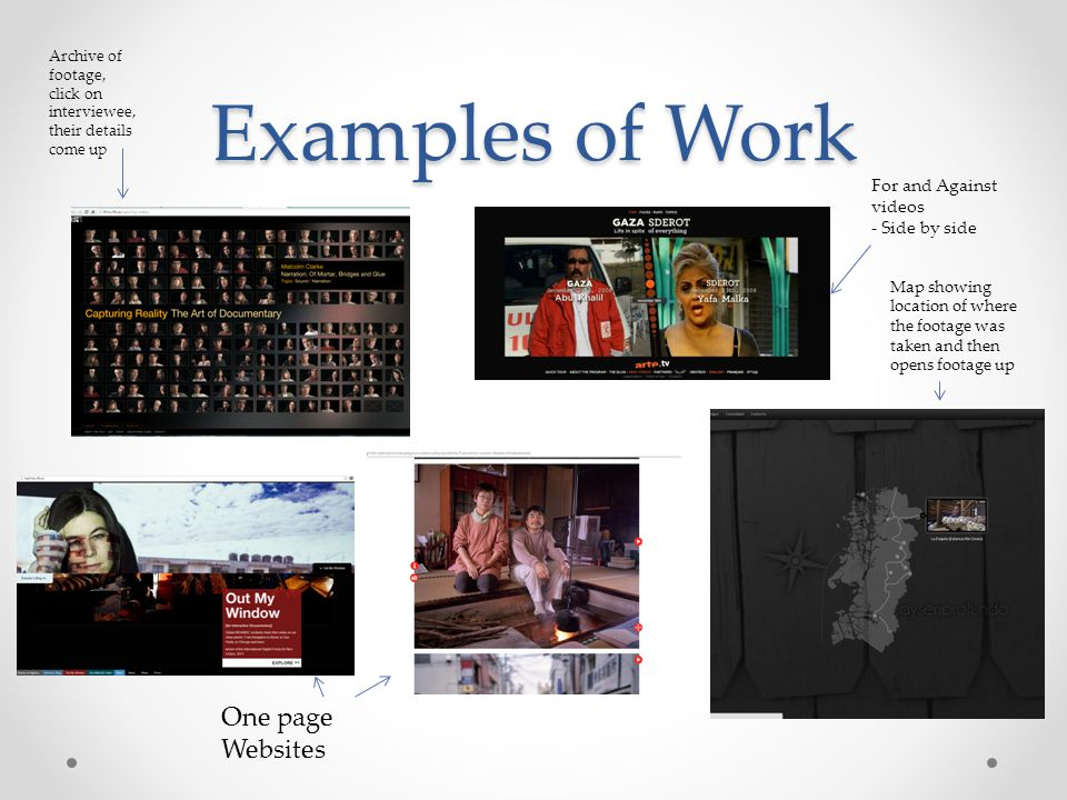 Examples of Work One page Websites For and Against videos - Side by side Archive of footage, click on interviewee, their details come up Map showing l
