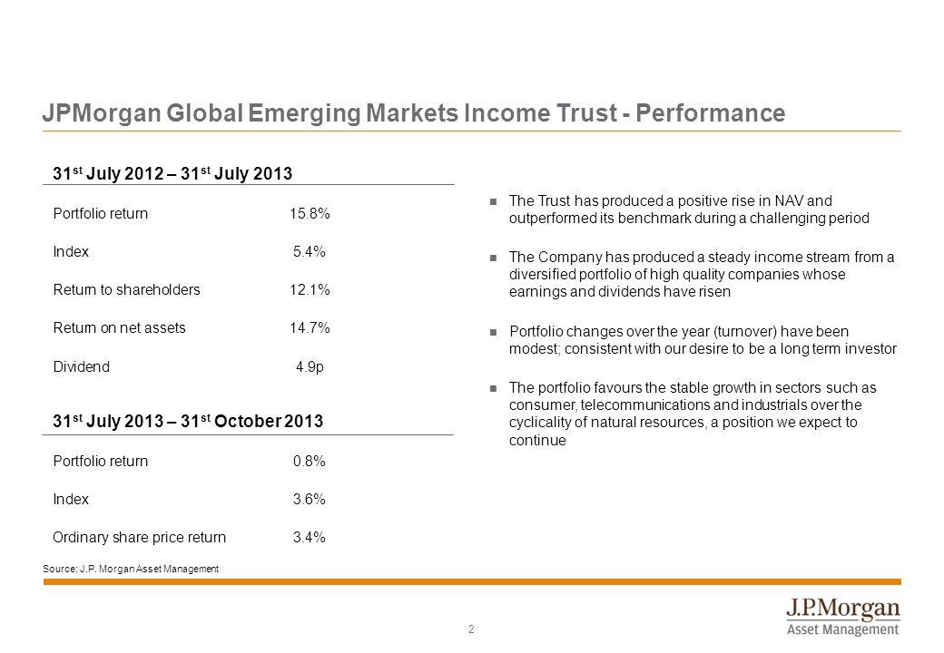 2 31 st July 2012 – 31 st July 2013 Portfolio return15.8% Index5.4% Return to shareholders12.1% Return on net assets14.7% Dividend4.9p 31 st July 2013
