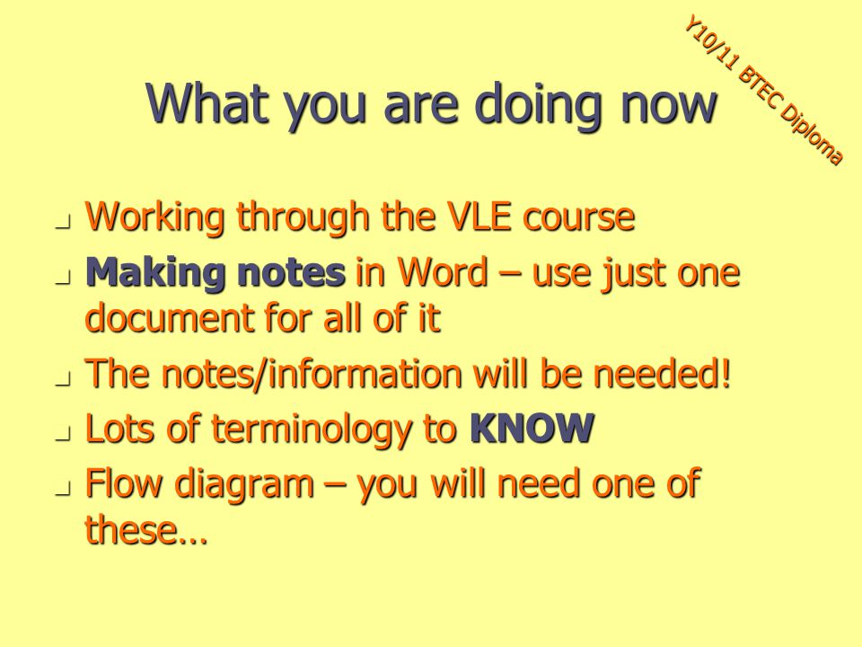 What you are doing now Working through the VLE course Working through the VLE course Making notes in Word – use just one document for all of it Making notes in Word – use just one document for all of it The notes/information will be needed.