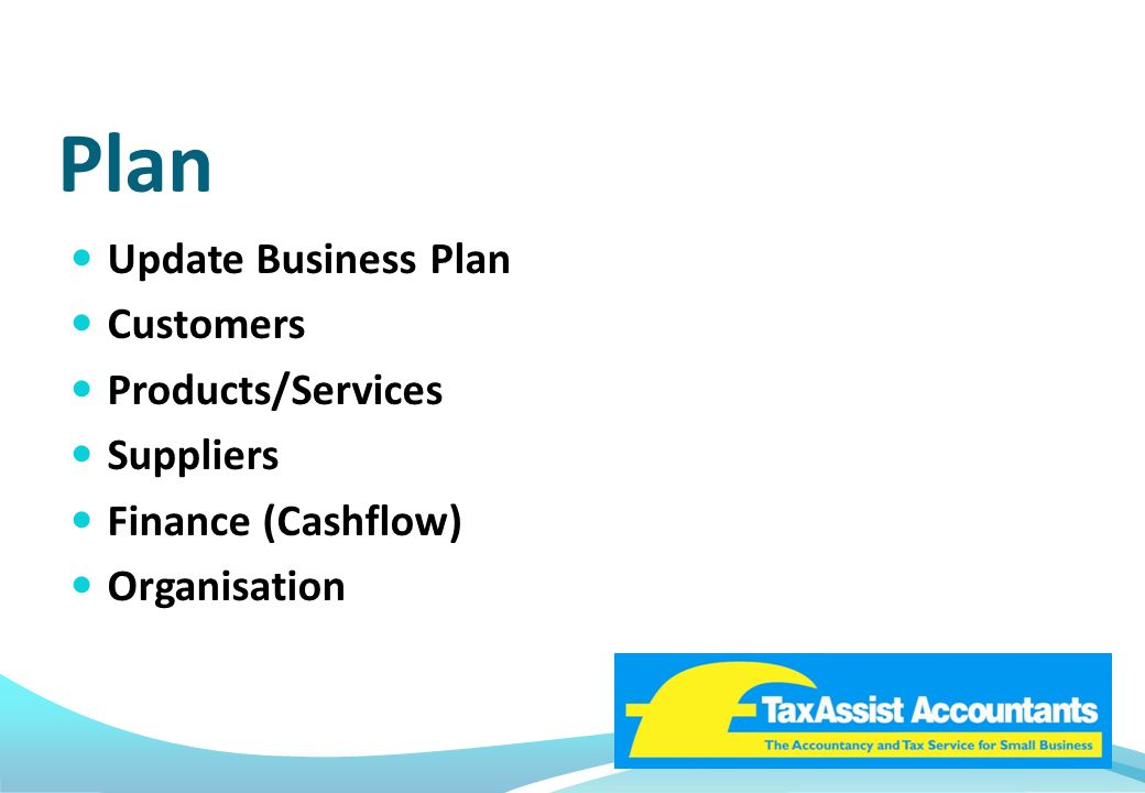 Plan Update Business Plan Customers Products/Services Suppliers Finance (Cashflow) Organisation