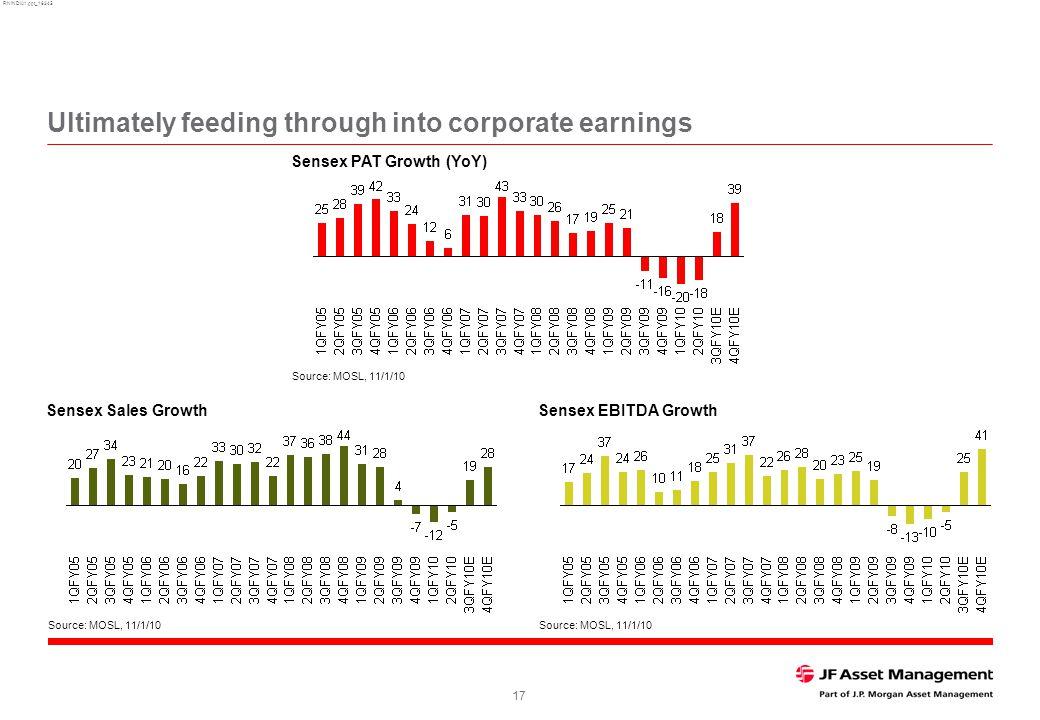 RNINDIA1.ppt_16345 17 Ultimately feeding through into corporate earnings Source: MOSL, 11/1/10 Sensex EBITDA GrowthSensex Sales Growth Source: MOSL, 1