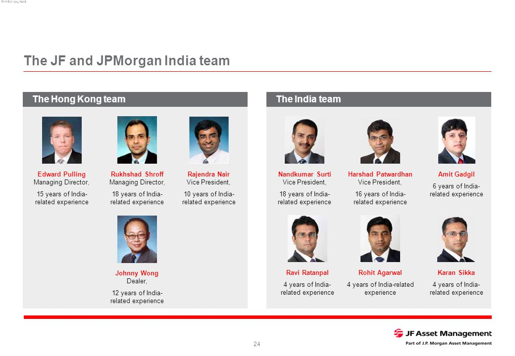 RNINDIA1.ppt_16345 24 The JF and JPMorgan India team The India team Edward Pulling Managing Director, 15 years of India- related experience Rukhshad Shroff Managing Director, 18 years of India- related experience Rajendra Nair Vice President, 10 years of India- related experience Johnny Wong Dealer, 12 years of India- related experience Nandkumar Surti Vice President, 18 years of India- related experience Harshad Patwardhan Vice President, 16 years of India- related experience Amit Gadgil 6 years of India- related experience Ravi Ratanpal 4 years of India- related experience Rohit Agarwal 4 years of India-related experience Karan Sikka 4 years of India- related experience The Hong Kong team