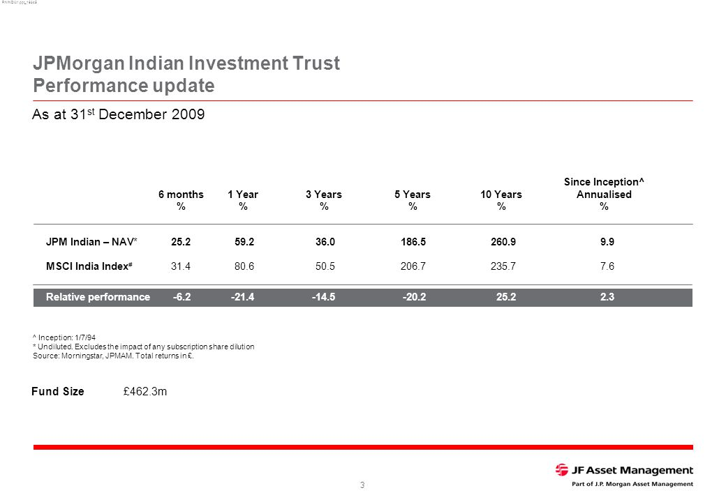 RNINDIA1.ppt_16345 3 JPMorgan Indian Investment Trust Performance update ^ Inception: 1/7/94 * Undiluted.