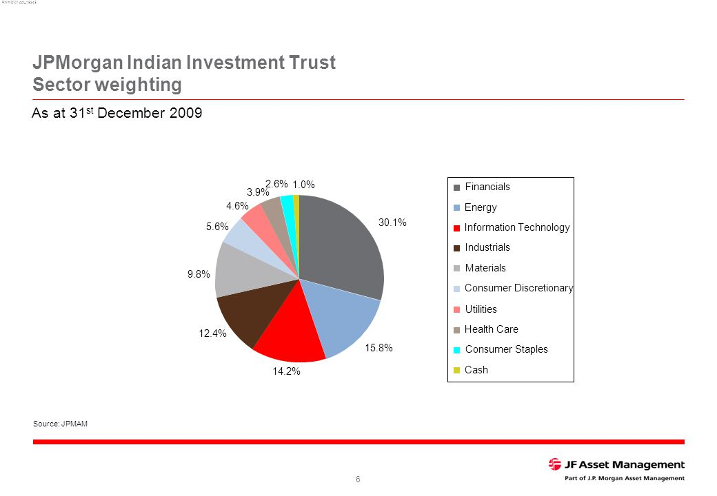 RNINDIA1.ppt_16345 6 JPMorgan Indian Investment Trust Sector weighting Source: JPMAM As at 31 st December 2009 5.6% 12.4% 3.9% 2.6% 4.6% 14.2% 1.0% 30.1% 15.8% 9.8% Financials Energy Information Technology Industrials Materials Consumer Discretionary Utilities Health Care Consumer Staples Cash
