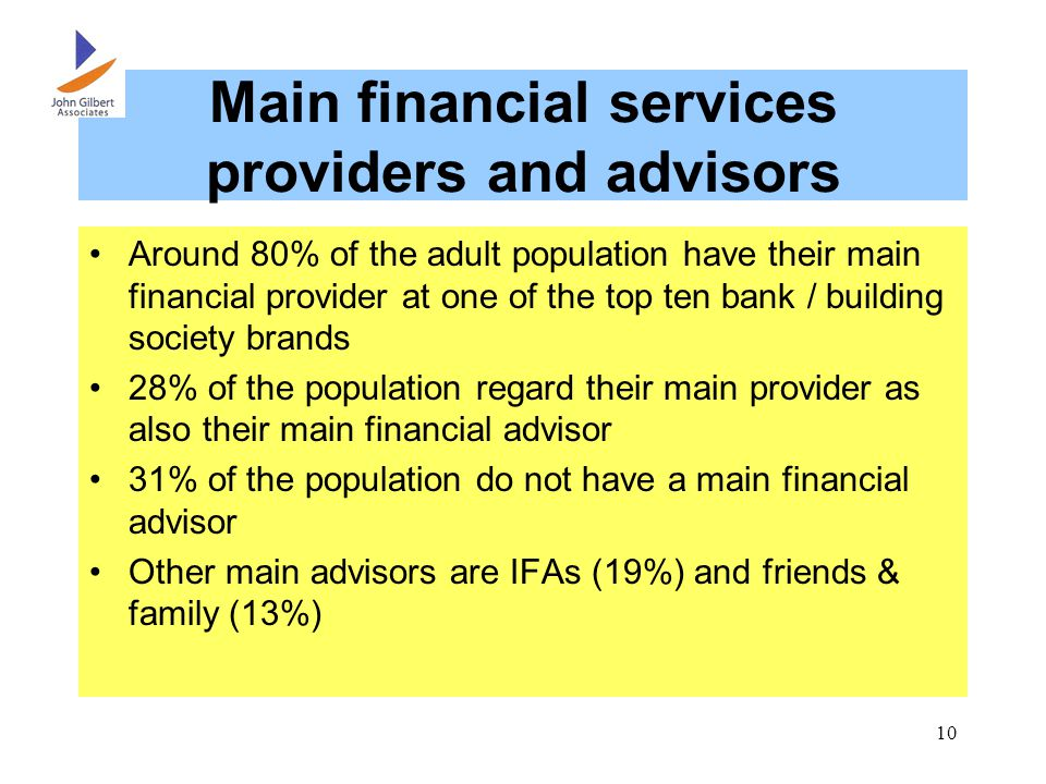 Main financial services providers and advisors Around 80% of the adult population have their main financial provider at one of the top ten bank / building society brands 28% of the population regard their main provider as also their main financial advisor 31% of the population do not have a main financial advisor Other main advisors are IFAs (19%) and friends & family (13%)