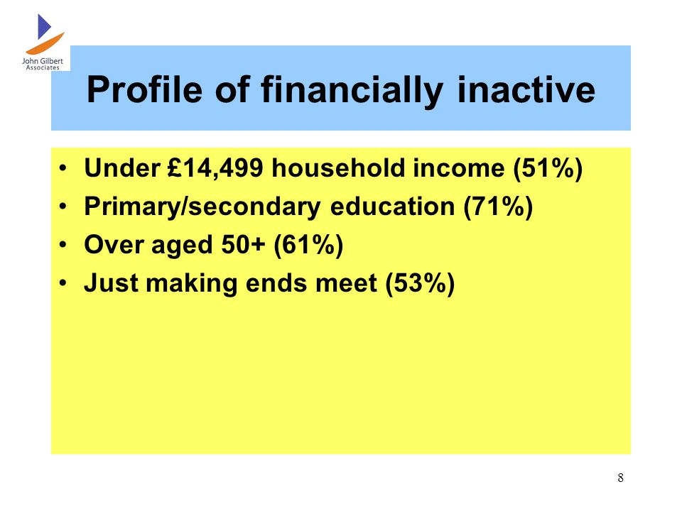 8 Profile of financially inactive Under £14,499 household income (51%) Primary/secondary education (71%) Over aged 50+ (61%) Just making ends meet (53%)