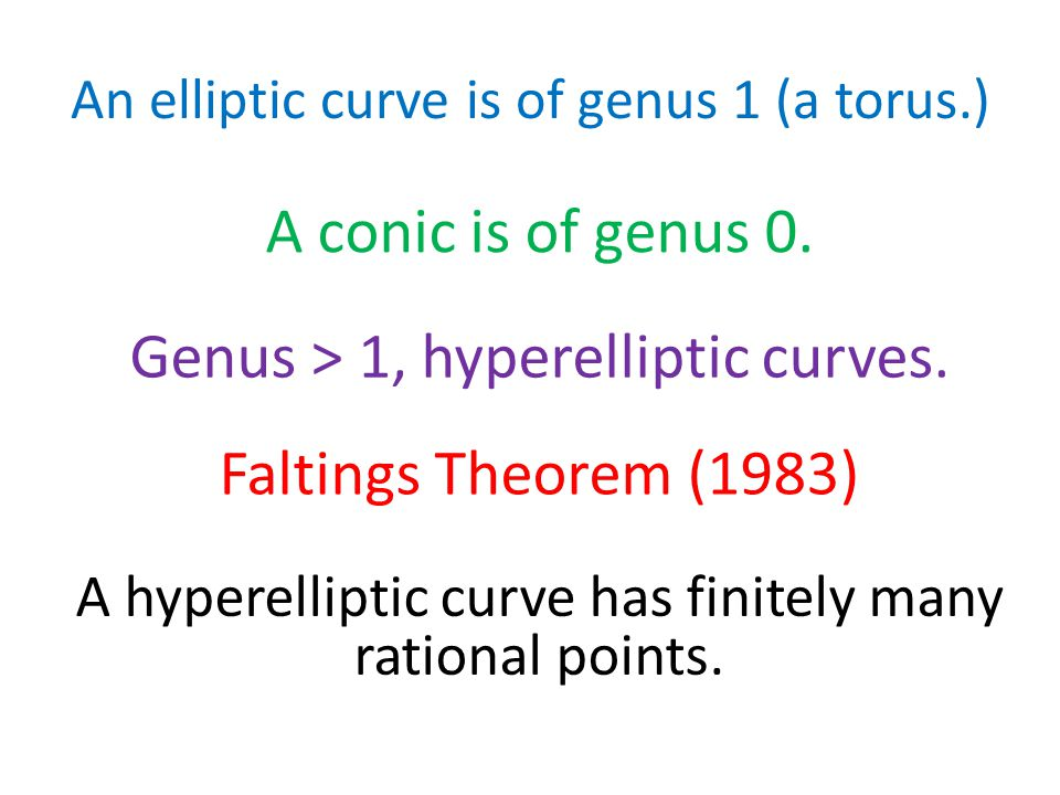 An elliptic curve is of genus 1 (a torus.) A conic is of genus 0.