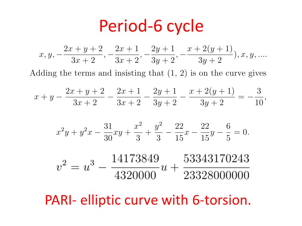 Period-6 cycle PARI- elliptic curve with 6-torsion.