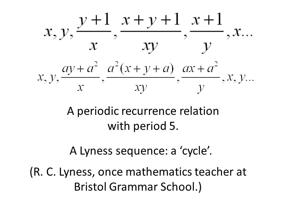 A periodic recurrence relation with period 5.A Lyness sequence: a 'cycle'.