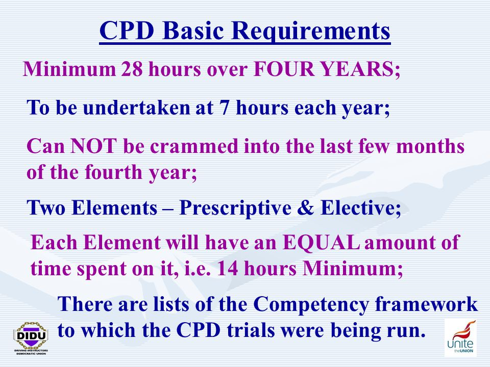 19 CPD Basic Requirements Minimum 28 hours over FOUR YEARS; To be undertaken at 7 hours each year; Can NOT be crammed into the last few months of the fourth year; Two Elements – Prescriptive & Elective; Each Element will have an EQUAL amount of time spent on it, i.e.