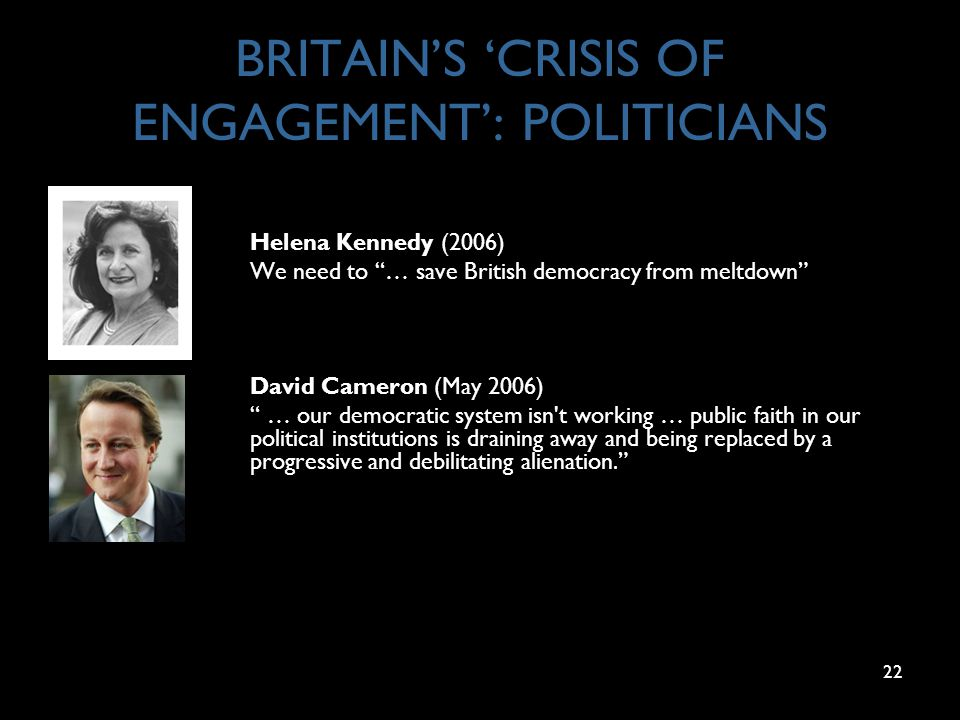22 BRITAIN'S 'CRISIS OF ENGAGEMENT': POLITICIANS Helena Kennedy (2006) We need to … save British democracy from meltdown David Cameron (May 2006) … our democratic system isn t working … public faith in our political institutions is draining away and being replaced by a progressive and debilitating alienation.