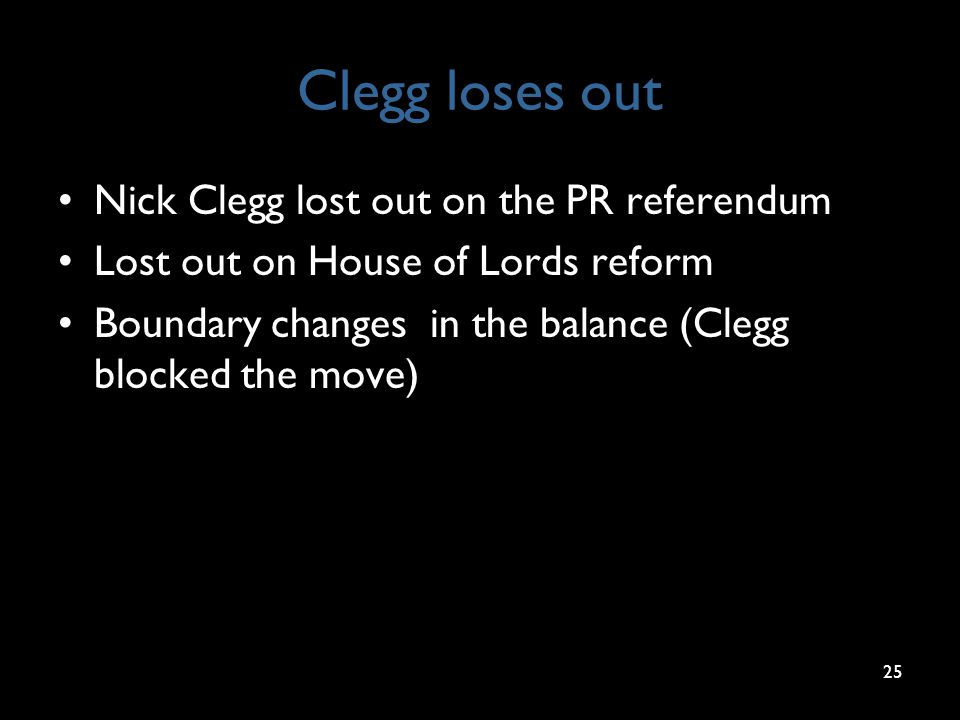 Clegg loses out Nick Clegg lost out on the PR referendum Lost out on House of Lords reform Boundary changes in the balance (Clegg blocked the move) 25