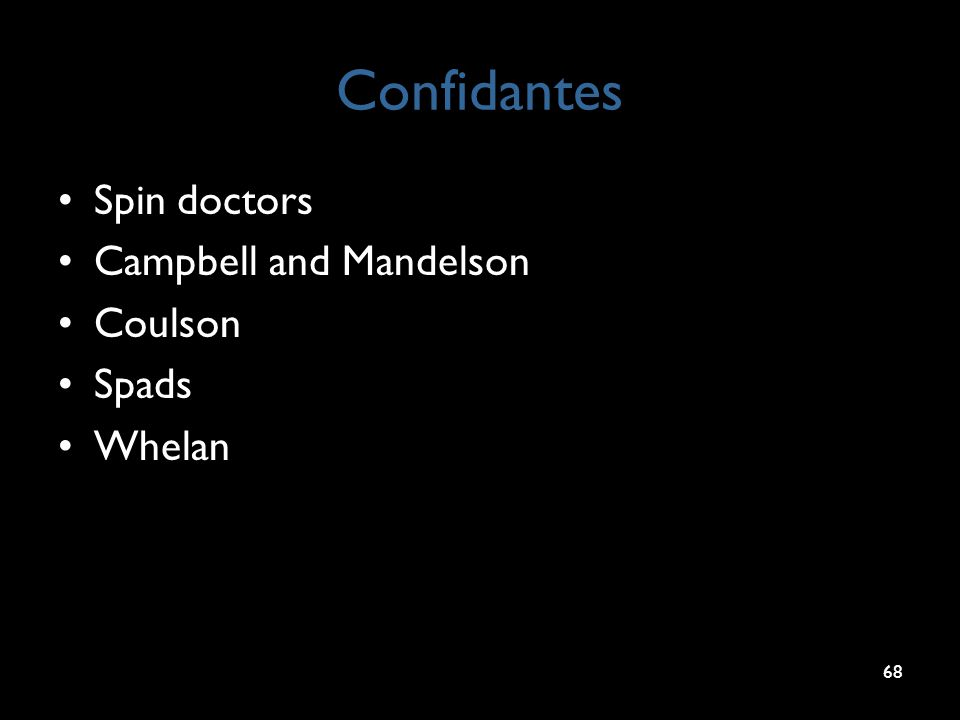 Confidantes Spin doctors Campbell and Mandelson Coulson Spads Whelan 68