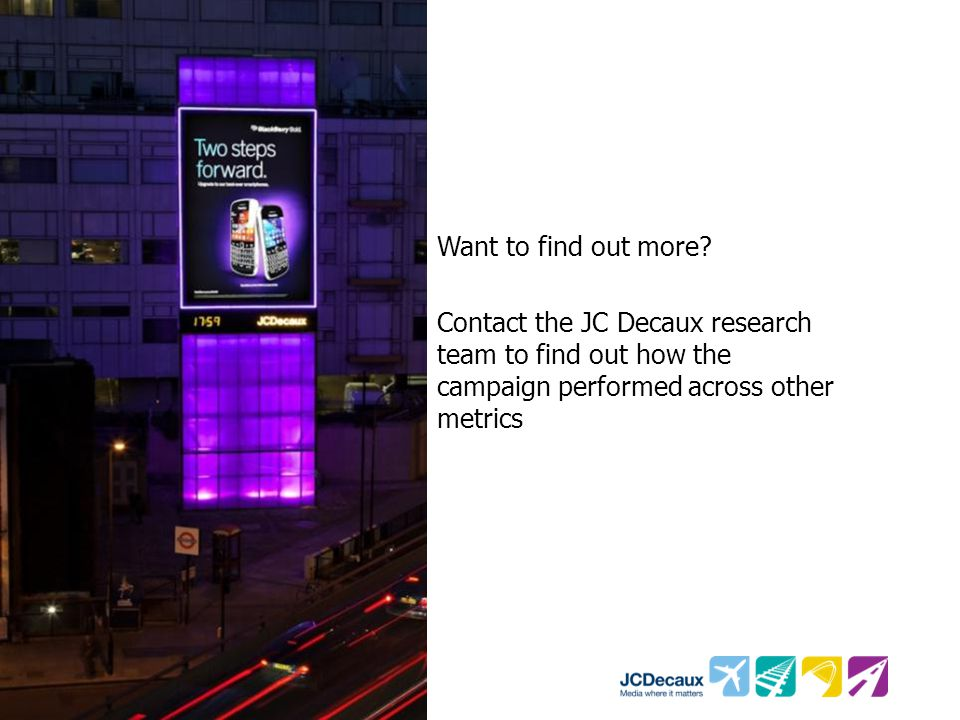 Want to find out more? Contact the JC Decaux research team to find out how the campaign performed across other metrics