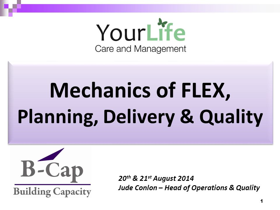 Mechanics of FLEX, Planning, Delivery & Quality 20 th & 21 st August 2014 Jude Conlon – Head of Operations & Quality 1