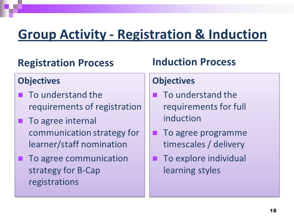 Group Activity - Registration & Induction Registration Process Objectives To understand the requirements of registration To agree internal communication strategy for learner/staff nomination To agree communication strategy for B-Cap registrations Objectives To understand the requirements of registration To agree internal communication strategy for learner/staff nomination To agree communication strategy for B-Cap registrations Induction Process Objectives To understand the requirements for full induction To agree programme timescales / delivery To explore individual learning styles Objectives To understand the requirements for full induction To agree programme timescales / delivery To explore individual learning styles 18