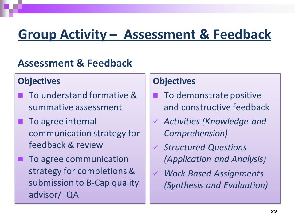 Group Activity – Assessment & Feedback Assessment & Feedback Objectives To understand formative & summative assessment To agree internal communication strategy for feedback & review To agree communication strategy for completions & submission to B-Cap quality advisor/ IQA Objectives To understand formative & summative assessment To agree internal communication strategy for feedback & review To agree communication strategy for completions & submission to B-Cap quality advisor/ IQA Objectives To demonstrate positive and constructive feedback Activities (Knowledge and Comprehension) Structured Questions (Application and Analysis) Work Based Assignments (Synthesis and Evaluation) Objectives To demonstrate positive and constructive feedback Activities (Knowledge and Comprehension) Structured Questions (Application and Analysis) Work Based Assignments (Synthesis and Evaluation) 22