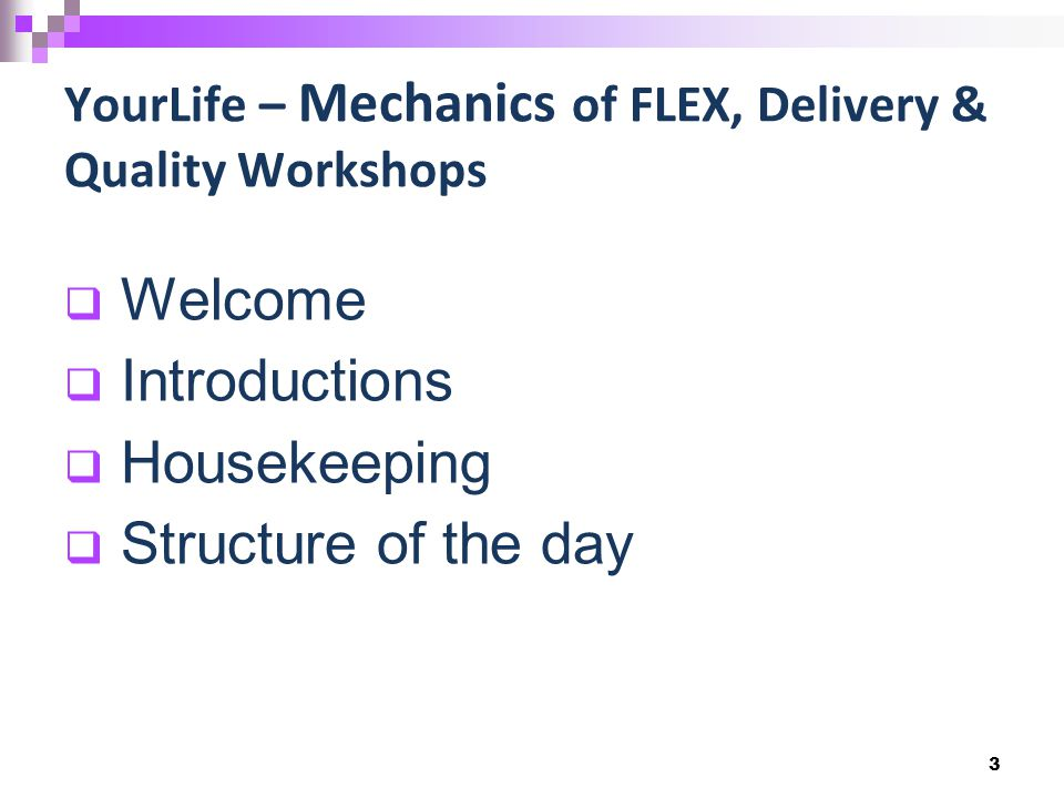  Welcome  Introductions  Housekeeping  Structure of the day 3 YourLife – Mechanics of FLEX, Delivery & Quality Workshops