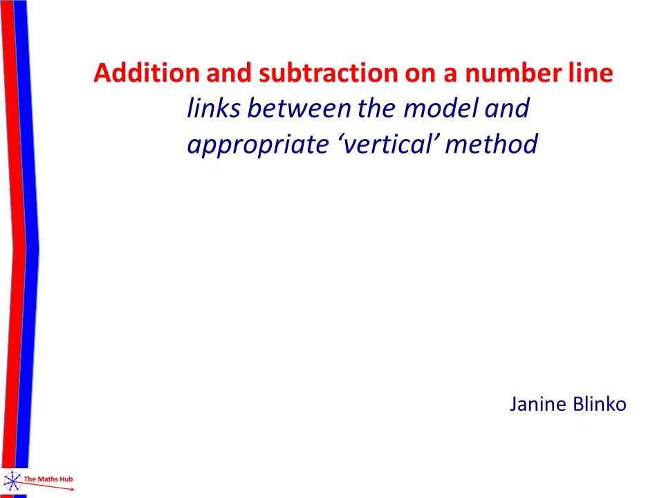 Addition and subtraction on a number line links between the model and appropriate 'vertical' method Janine Blinko