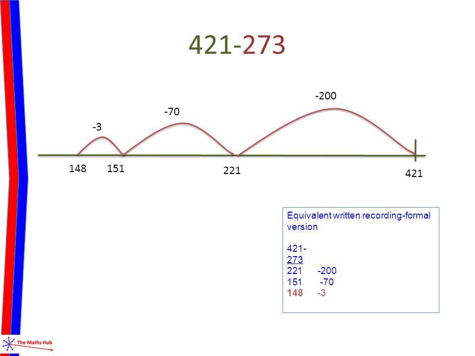 421-273 -3 148 421 -200 221 -70 151 Equivalent written recording-formal version 421- 273 221 -200 151 -70 148 -3