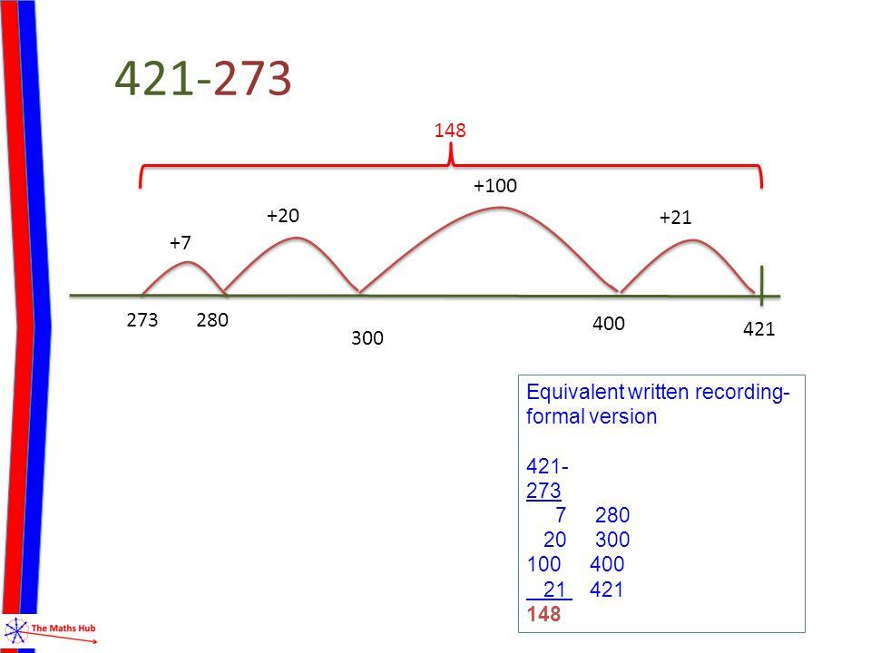 421-273 +7 273 421 +100 148 +20 280 +21 400 300 Equivalent written recording- formal version 421- 273 7 280 20 300 100 400 21 421 148